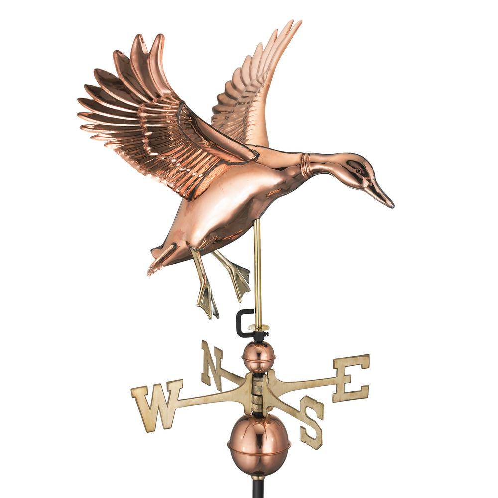 Landing Duck Weathervane - Pure Copper