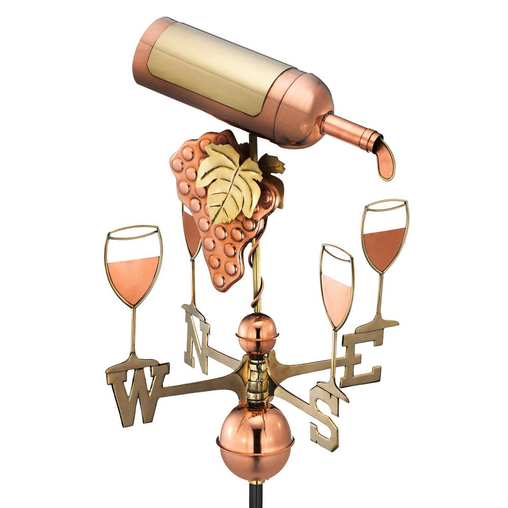 Wine Bottle Weathervane - Pure Copper
