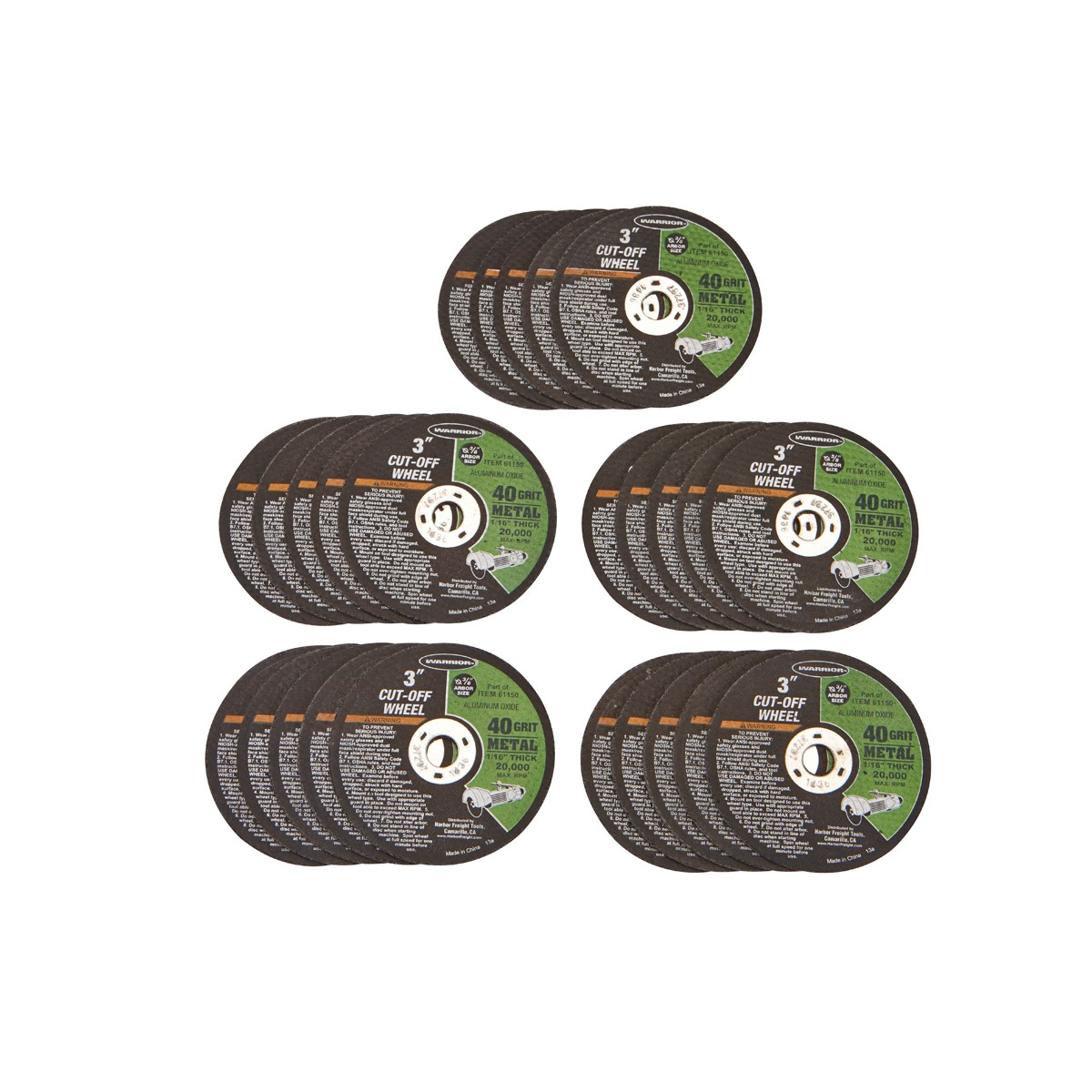 3 in. 40 Grit Metal Cut-off Wheel 25 Pc