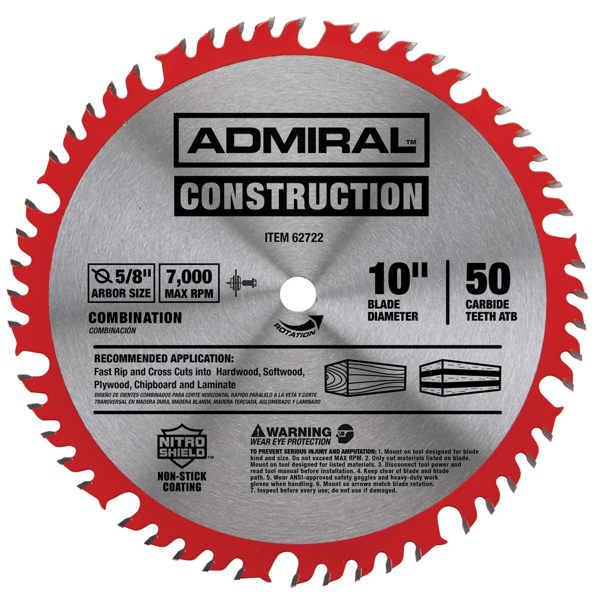 10 in. 50T Combination Circular Saw Blade with Nitro Shield Coating